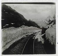 Suisse Furka Chemin Da Ferro Foto Stereo Th3n10 Placca Da Lente Vintage