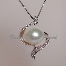 "Huge Genuine 11mm White Pearl CZ Pendant Necklace 18"" Cultured Freshwater #114"