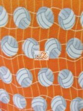 "VOLLEYBALL PRINT POLAR FLEECE FABRIC - White Net Orange - 60"" WIDTH BY YARD 966"