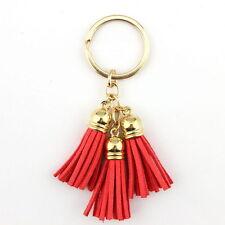 Women Key Chain Velvet Leather Tassel Keychain Bag Pendant Car 21 Colors