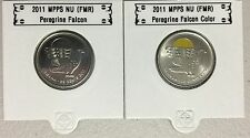 CANADA 2011 New 2 x 25 cent Peregrine Falcon NO COLOR and COLOR (BU From roll)