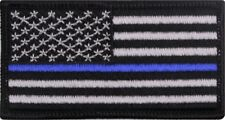 "US Thin Blue Line Flag American Flag Iron-On Patch 1 7/8"" x 3 3/8"""