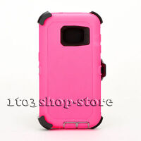 For Samsung Galaxy S7 Defender Hard Shell Case w/Holster Belt Clip - Pink / Gray