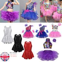 UK_Girls Jazz Hip Hop Dance Dress Kids Sequined Outfit Leotard Dancewear Costume