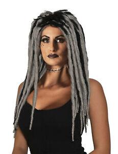 Voodoo Queen Long Grey Black Dreadlocks Adult Womens Costume Wig Accessory NEW