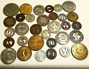 32 DIFFERENT TRANSIT 20 STATES + Trolley Bus Train Toll Token Lot Set 1930 - 80s