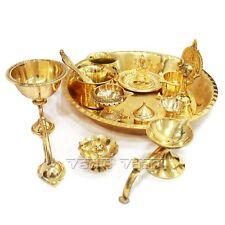 Puja Thali Set In Thick Brass Diwali Festival Hindu Pooja Set Prayer Vessels