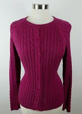 LL Bean Womens Cotton Cable Knit LS Button Down Magenta Pink Cardigan Sweater L