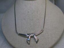 "Silver Tone Bow Herringbone Necklace, 1970's-1980's, 17"""
