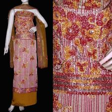 MARN-GOLDEN JQRD INDIAN SALWAR KAMEEZ SUIT DRESS MATERIAL RIBBON WORK LADIES DEN