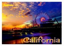 Santa Monica Pier California Postcard Ferris Wheel Pacific Park Sunset New