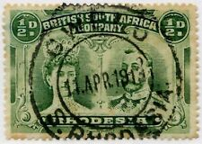 RHODESIA DOUBLE HEAD HALFPENNY 11 APRIL 1913 GWELO POSTMARK
