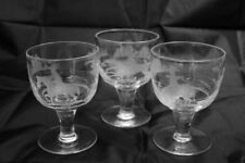 Britain Wine Glass Etched Glass