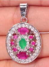 STUNNING Elegance Style Emerald Green & Sim Ruby Crystal Silver Pendant