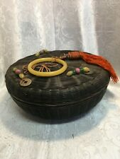 "Antique Chinese ""Sewing"" Basket Decorated Lid Tea Bin Holder 11"" X 4"" LOOK"