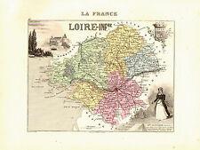 Carte du Département de la LOIRE-ATLANTIQUE, vers 1874. Migeon-Loire Inférieure