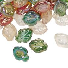 50 Pressed Glass Multicolor Luster Leaf Beads Fall Color Mix 12x9mm