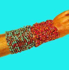 Set of 2 Bright MultiColor Strand Handmade Cleo Stretch Seed Bead Cuff Bracelets