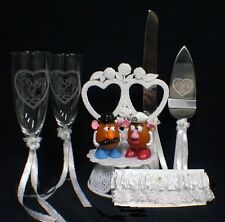 Mr & Mrs Potato Wedding Cake topper LOT Glasses server knife set  Funny