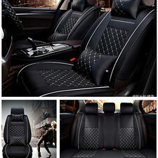 5-Seats Front + Rear Car SUV Seat Cover Cushion PU Leather w/Pillow Size-M Black