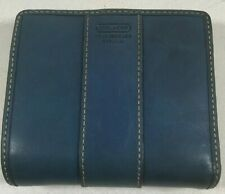"Vintage Coach Blue Coin Credit Card Cash Compact Wallet w/ Silver Clasp 4"" x 3"""