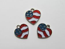 12 FLAG HEART CHARMS patriotic USA July 4th AMERICA FLAG red white blue NICE