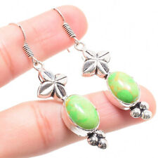Green Turquoise Gemstone 925 Sterling Silver Earring 1.38 Inch ER-8