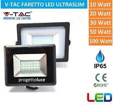 V-TAC FARO FARETTO LED SMD 10W 20W 30W 50W 100W SLIM DA ESTERNO IP65 COLORE NERO