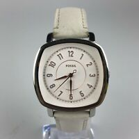 Fossil Womens ES4216 Stainless Steel Square Dial White Leather Strap Watch
