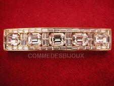 """Broche """"Barre Baguette Rectangle"""" Pavé Blanc - Bijoux pur Vintage"""
