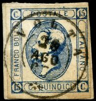Regno d'Italia 1863 n. 12 - I Tipo - usato su frammento - annullo VOLTA (m973)