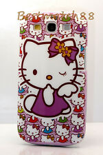 for Samsung Galaxy S3 purple white flower bow case  kitten hello kitty cool //