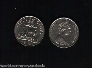 BERMUDA 50 CENTS KM19 1981-1982 X 40 PCS LOT QUEEN ARM RARE CARIBBEAN MONEY COIN