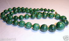 Genuine Green Malachite Necklace Graduated Beads African Malakite Necklace Beads