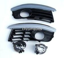 VW JETTA MK3 2004-2010 FOG LIGHTS LIGHT LAMPS & GRILLES KIT CHROME BROWS NEW