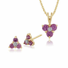 9ct Gold Pink Sapphire & Diamond Cluster Stud Earrings & 45cm Necklace Set