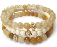 Semi Precious Stone Triple Stretch Bracelet Yellow Jade