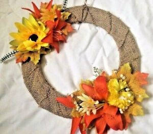 """10"""" Handmade Rustic Wreath,Silk Flowers With Wrapped Hess On Copper Wire Base"""