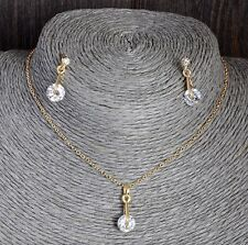 Women's 18K Gold Plated CZ Crystal Drop Pendant & Earring Jewellery Sets Gift UK