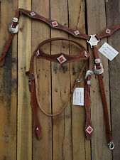 WESTERN HEADSTALL BREASTCOLLAR SET RED SILVER SHOW PLEASURE LEATHER HORSE BRIDLE