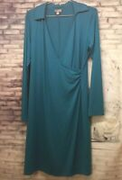 J. Jill Wearever Collection Teal Faux Wrap Long Sleeve Dress Stretch Size S