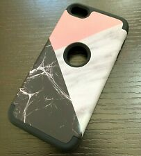 For iPod Touch 5th 6th 7th Gen - Hard Hybrid Armor Case Black White Marble Cover
