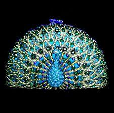 Royal Blue & Green Peacock Rhinestone Crystal Clutch Bridal Prom Formal Purse