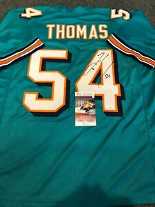 MIAMI DOLPHINS ZACH THOMAS AUTOGRAPHED SIGNED JERSEY JSA  COA