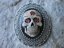 2 IN 1 - HAND PAINTED SUGAR SKULL CAMEO SILVER BROOCH / PIN / PENDANT - GOTH