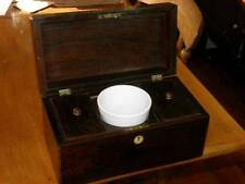 Antique 1830s William IV Rosewood Tea Caddy Box Ceramic Mixing Bowl Sarcophagus