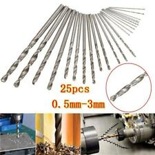 25 Micro punte trapano HSS  0.5,0.6,1,1.2,1.5,1.8,2,2.3,3mm PCB Twist Drill Bits