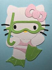 2 Big Hello Kitty Snorkel Beach Summer Holiday Cat Die Cuts (Cards Scrapbook)