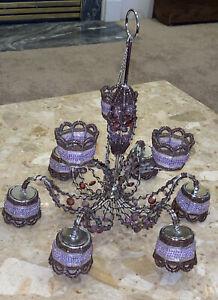 "Shabby Bedroom Purple Beaded HANGING CHANDELIER Ceiling Votive Candle Holder 16"""