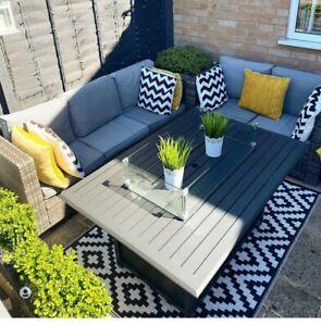 Indoor/outdoor Waterproof Plastic Large Rug Garden Patio Black & White Geometric